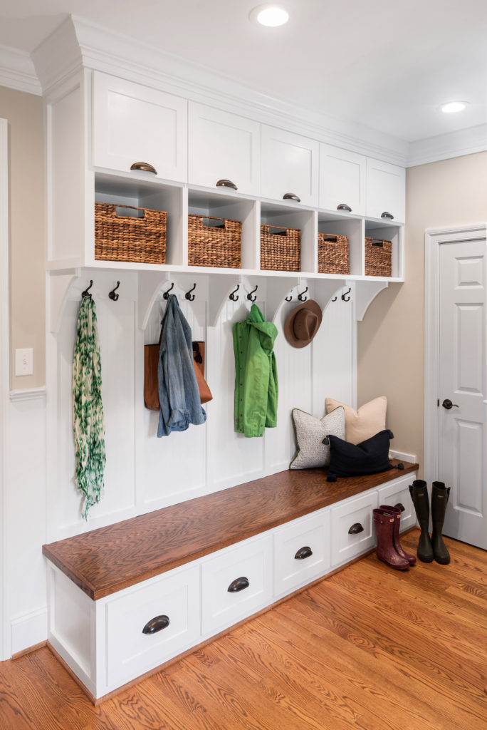Custom carpentry mudroom cubbies in Radnor